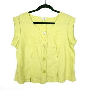 Hobbs London Pale Yellow Green Linen Blouse
